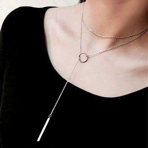 GEO Adjustable Silver Bar Necklace